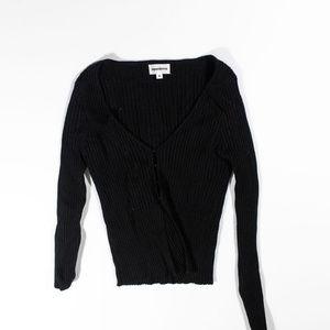 Superdown Sierra Black Ribbed Knit Stretch Shirt